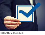 Купить «closeup of checkbox and blue mark in it», фото № 7093372, снято 18 февраля 2013 г. (c) Syda Productions / Фотобанк Лори