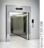 Купить «Современный лифт с открытой дверью», иллюстрация № 7101548 (c) Сергей Куров / Фотобанк Лори