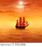 Купить «Парусное судно в море на рассвете», иллюстрация № 7103056 (c) ElenArt / Фотобанк Лори