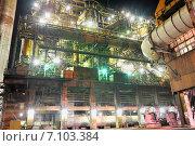 Купить «Цех металлургического завода в ночное время», фото № 7103384, снято 7 июня 2010 г. (c) Iordache Magdalena / Фотобанк Лори