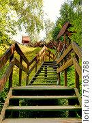 Купить «Плес. Деревянная лестница, подъем на гору Левитана», фото № 7103788, снято 25 июля 2011 г. (c) Татьяна Федулова / Фотобанк Лори