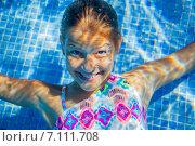 Купить «Портрет девочки под водой в бассейне», фото № 7111708, снято 24 мая 2020 г. (c) Максим Топчий / Фотобанк Лори