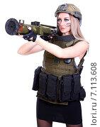 Купить «Woman in a military camouflage with a grenade launcher», фото № 7113608, снято 21 февраля 2015 г. (c) Art Konovalov / Фотобанк Лори