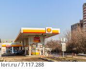 Купить «Автозаправочная станция Shell. Москва», фото № 7117288, снято 11 марта 2015 г. (c) Владимир Устенко / Фотобанк Лори