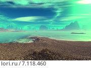 Купить «Чужая планета. Скалы и луна», иллюстрация № 7118460 (c) Parmenov Pavel / Фотобанк Лори