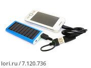 Купить «Солнечная батарея для зарядки мобильного телефона», эксклюзивное фото № 7120736, снято 3 июля 2014 г. (c) Юрий Морозов / Фотобанк Лори