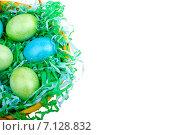 Зеленые и голубые пасхальные яйца в корзине с бумажной стружкой. Стоковое фото, фотограф Владимир Ходатаев / Фотобанк Лори