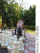 Купить «Мальчик играет в большими шахматами в парке», фото № 7143492, снято 23 июля 2014 г. (c) Елена Блохина / Фотобанк Лори