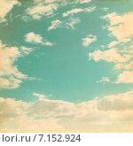 Купить «Фон - старая бумага с голубым небом и белыми облаками», фото № 7152924, снято 11 января 2015 г. (c) Влад  Плотников / Фотобанк Лори