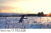 Купить «Люди гуляют по снежному замерзшему озеру на закате в морозны зимний день. Сегежа. Карелия», видеоролик № 7153628, снято 31 января 2015 г. (c) Кекяляйнен Андрей / Фотобанк Лори