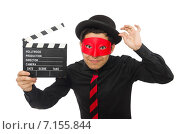 Купить «Young man with red mask isolated on white», фото № 7155844, снято 18 декабря 2014 г. (c) Elnur / Фотобанк Лори