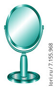 Зеркало настольное. В овальной рамке, на подставке. Бирюза. Стоковая иллюстрация, иллюстратор Светлана Круглова / Фотобанк Лори