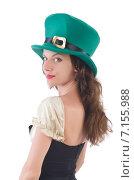 Female model in Irish costume isolated on white. Стоковое фото, фотограф Elnur / Фотобанк Лори