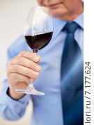 Купить «close up of senior man drinking wine from glass», фото № 7177624, снято 12 октября 2013 г. (c) Syda Productions / Фотобанк Лори