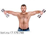 Купить «Muscular bodybuilder guy doing exercises with dumbbells isolated over white background», фото № 7179748, снято 22 марта 2019 г. (c) Александр Савченко / Фотобанк Лори