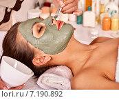 Купить «Clay facial mask in beauty spa.», фото № 7190892, снято 28 июня 2012 г. (c) Gennadiy Poznyakov / Фотобанк Лори