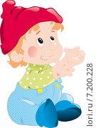 Ребёнок мальчик в красной шапке на белом фоне. Стоковая иллюстрация, иллюстратор Попова Евгения / Фотобанк Лори