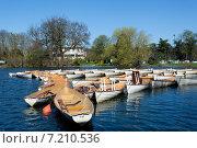 Купить «Лодки с веслами на голубой воде в парке», фото № 7210536, снято 20 марта 2014 г. (c) Сурикова Ирина / Фотобанк Лори