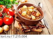 Купить «Мясо, тушенное с луком и помидорами», фото № 7215004, снято 31 марта 2015 г. (c) Надежда Мишкова / Фотобанк Лори