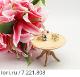 Золотые кольца с камнями на миниатюрном столике. Стоковое фото, фотограф yaray / Фотобанк Лори
