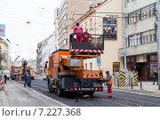 Купить «Строительство трамвайных путей в г. Прага», фото № 7227368, снято 10 ноября 2014 г. (c) Донцов Евгений Викторович / Фотобанк Лори