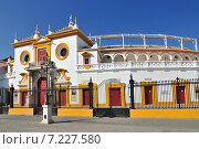 Spain, Andalusia, Sevilla, Plaza de Toros de la Real Maestranza de Caballeria de Sevilla, the Baroque facade of the bullring. Стоковое фото, агентство BE&W Photo / Фотобанк Лори