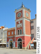 Купить «Croatia, Istria, Rovinj, The clock Tower on Main Square, Rovinj», фото № 7227608, снято 26 марта 2019 г. (c) BE&W Photo / Фотобанк Лори