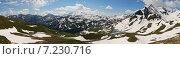 Купить «Панорама горного пейзажа, дорога Grossglockner, Австрия», фото № 7230716, снято 12 июня 2014 г. (c) Сергей Драцкий / Фотобанк Лори