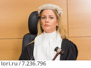 Купить «Stern judge sitting and listening», фото № 7236796, снято 7 августа 2014 г. (c) Wavebreak Media / Фотобанк Лори