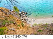 Песчаный берег с голубой водой Байкала (2010 год). Стоковое фото, фотограф Ермолаева Дина / Фотобанк Лори