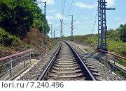 Купить «Железнодорожный путь. Поворот», фото № 7240496, снято 6 августа 2013 г. (c) Александр Замараев / Фотобанк Лори