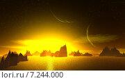 Купить «Чужая планета. Скалы и луна», иллюстрация № 7244000 (c) Parmenov Pavel / Фотобанк Лори