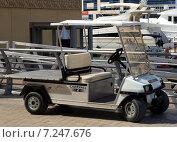 Купить «Электромобиль стоит на набережной на фоне дорогих яхт», фото № 7247676, снято 30 октября 2014 г. (c) SevenOne / Фотобанк Лори