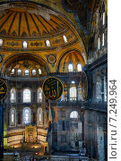 Купить «The interior of the Hagia Sophia with famouse Islamic elements, Istanbul», фото № 7249964, снято 9 июля 2014 г. (c) Serg Zastavkin / Фотобанк Лори