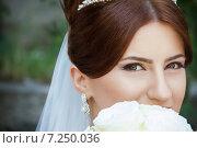 Купить «Портрет невесты с большими зелеными глазами», фото № 7250036, снято 20 июня 2014 г. (c) Emelinna / Фотобанк Лори