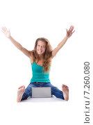Купить «Pretty girl using laptop isolated on white», фото № 7260080, снято 3 августа 2012 г. (c) Elnur / Фотобанк Лори