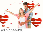Купить «Composite image of attractive young couple smiling and embracing», фото № 7265340, снято 19 марта 2019 г. (c) Wavebreak Media / Фотобанк Лори