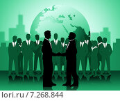 Купить «Деловое рукопожатие. Группа бизнесменов на фоне Земного шара», иллюстрация № 7268844 (c) Stuart Miles / Фотобанк Лори