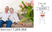 Купить «Composite image of happy senior couple relaxing on sofa», фото № 7269364, снято 15 июня 2019 г. (c) Wavebreak Media / Фотобанк Лори