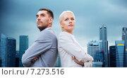 Купить «businessman and businesswoman outdoors», фото № 7273516, снято 19 августа 2014 г. (c) Syda Productions / Фотобанк Лори