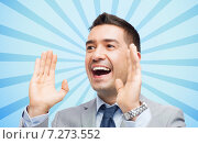 Купить «happy businessman in suit shouting», фото № 7273552, снято 29 января 2015 г. (c) Syda Productions / Фотобанк Лори
