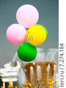 Купить «Россия, Москва, ВВЦ (ВДНХ) - Всероссийский Выставочный центр, майские праздники, фонтан дружбы народов. Воздушные шары. Грозовое небо», фото № 7274184, снято 4 мая 2011 г. (c) Виктория Михайловна Гаман / Фотобанк Лори