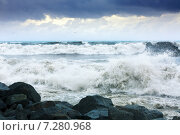 Купить «sea wave during storm», фото № 7280968, снято 16 октября 2018 г. (c) Яков Филимонов / Фотобанк Лори