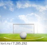 Купить «Composite image of digitally generated white leather football», фото № 7285292, снято 19 июня 2019 г. (c) Wavebreak Media / Фотобанк Лори