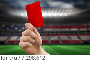 Купить «Composite image of hand holding up red card», фото № 7298612, снято 24 февраля 2020 г. (c) Wavebreak Media / Фотобанк Лори