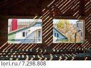 Два проёма для окон в стене строящегося кирпичного дома. Стоковое фото, фотограф Николай Полищук / Фотобанк Лори