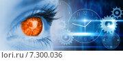 Купить «Composite image of orange eye on blue face», фото № 7300036, снято 25 апреля 2018 г. (c) Wavebreak Media / Фотобанк Лори