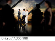 Купить «Composite image of business people walking in a blur», фото № 7300988, снято 25 марта 2019 г. (c) Wavebreak Media / Фотобанк Лори