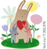 Мама зайчиха с крольчатами векторный рисунок. Стоковая иллюстрация, иллюстратор Ирина Малашкина / Фотобанк Лори