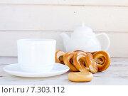 Бублики и чай. Стоковое фото, фотограф Елена Захарченко / Фотобанк Лори